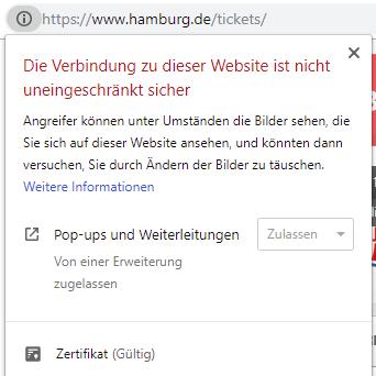 Mixed Content Hinweis im Browser bei Webseiten am Beisopiel von Hamburg.de