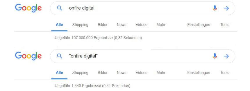 Unterschiedliche Suchergebnisse bei Google durch Anführungszeichen