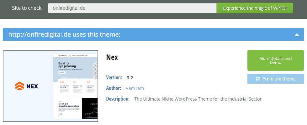 Screenshot wpthemedetector.com onfire digital