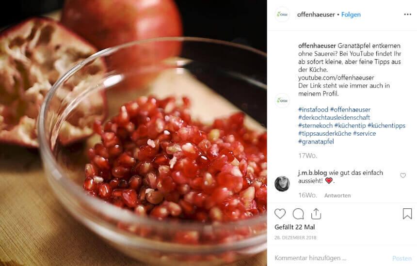 Tipps aus der Küche bei Instagram
