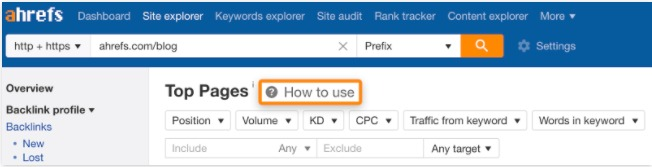 How to use-Tutorials bei Ahrefs