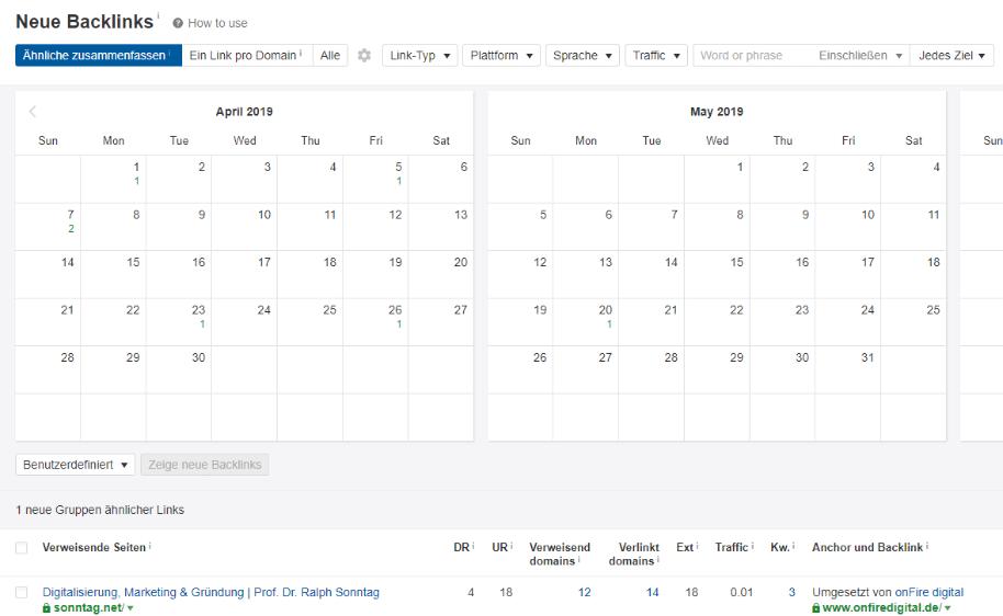 Neue Backlinks im Kalender