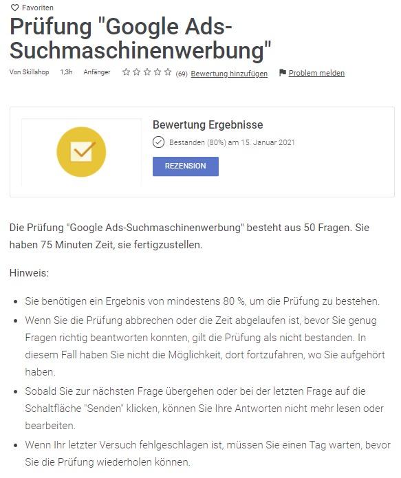 Google Ads Prüfung