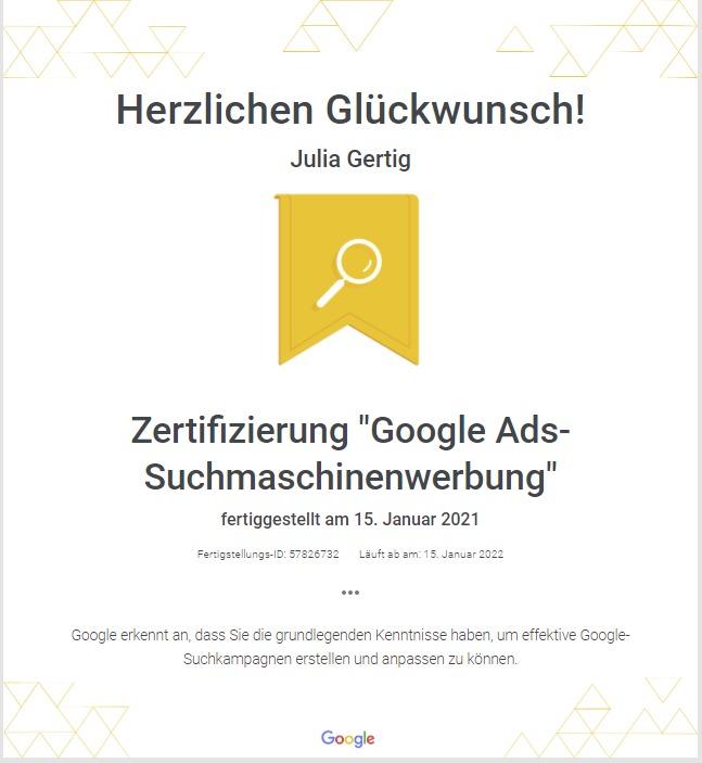 Zertifizierung Julia Gertig
