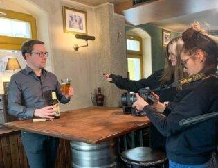 Fotoshooting des Bieres