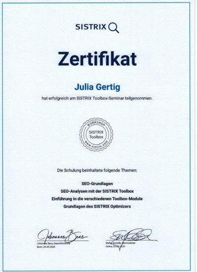 Sistrix Zertifikat von Julia Gertig