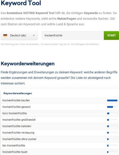 Vorschau des Sistrix Keyword-Tools